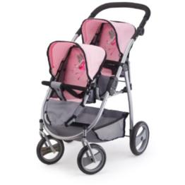 bayer Design Zwillingswagen rosa/grau 26508AA