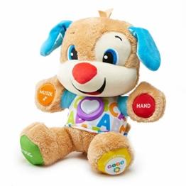 Fisher-Price FPM50 - Lernspaß Hündchen Baby Spielzeug und Plüschtier, Lernspielzeug mit Liedern und Sätzen, mitwachsende Spielstufen, Spielzeug ab 6 Monaten, deutschsprachig - 1
